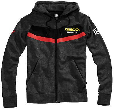 100% Geico Honda Point Hoody Black Zip Up Fleece Team Coat Motocross Racing MX