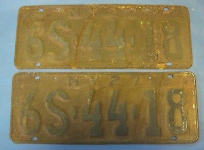 Matched pair of 1927 New York license plates