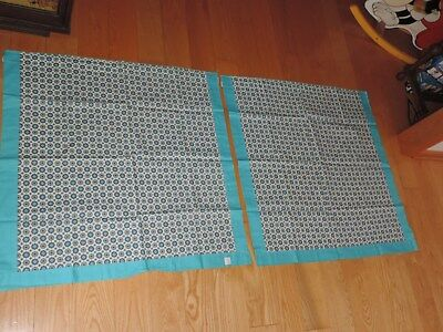 Vintage Curtains Atomic Mid Century Starburst 2 Panel Turquoise Blue NOS (J575)