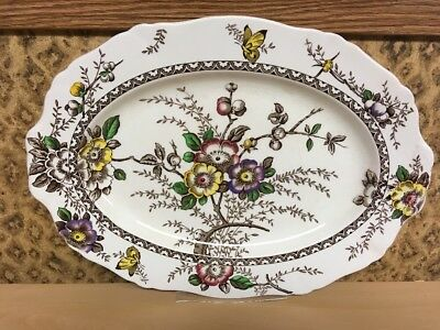 """ALFRED MEAKIN  MEDWAY DECOR OVAL SERVING PLATTER/TRAY  16.5"""" x 12"""" ENGLAND"""
