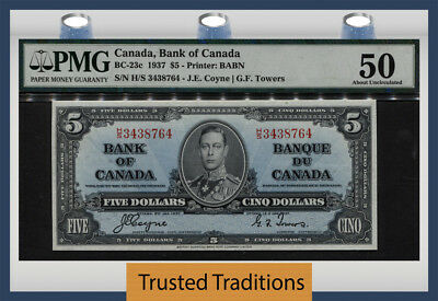 "TT BC-23c 1937 CANADA BANK OF CANADA 5 DOLLARS ""KING GEORGE VI"" PMG 50!"