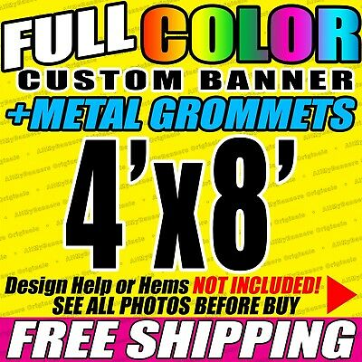4x8 Custom Banner, Full color printing, 13oz Vinyl banner, Free SHIPPING - VLU