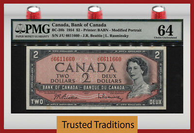 TT PK BC-38d 1954 CANADA $2 YOUNG QUEEN ELIZABETH II PMG 64 CHOICE UNCIRCULATED