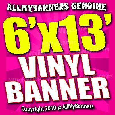 6x13 Custom Banner, Full color printing, 13oz Vinyl banner, Free SHIPPING -VLU