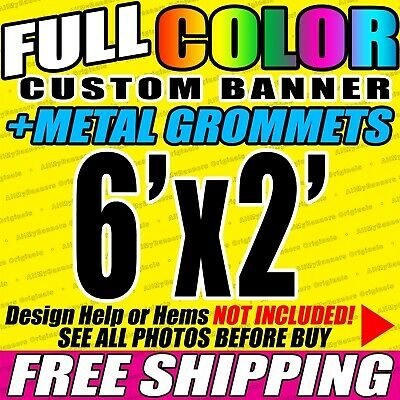 6x2 Custom Banner, Full color printing, 13oz Vinyl banner, Free SHIPPING - VLU