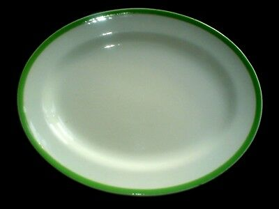 Queens Green Solian Ware SOHO POTERY LTD Oval Plate/Platter 14 inch c1930