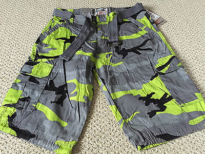 NWT Men's Abalanche Lime Green Gray Camouflage Camo Belted Cargo Shorts ALL SIZE