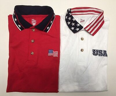 Patriotic Men's Stars & Stripes Golf Polo Shirt 100% Cotton Made in America NWT