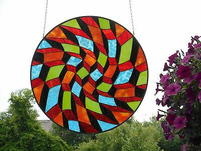 Very Colorful Large Round Stained Art Glass Handmade Artist Signed Window Panel