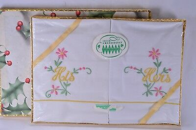 Vintage Boxed Irish Linen Embroidered His & Hers Pillow Case Set 1970s Retro
