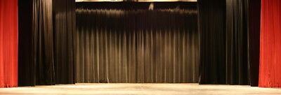 BLACK Heavy Duty Stage - Chain Weighted Drape Curtain Partition Panel 13 x 12 FR