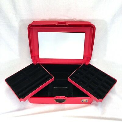 Caboodles Large Jewelry Makeup Case Organizer Flocked 2 Tier Red Mirror