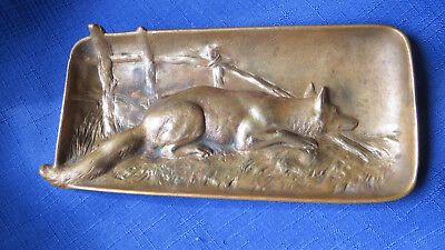 Antique Berndorf Bronze Art Nouveau Fox Pin Card Tray