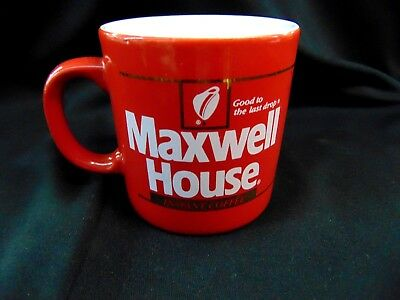 Vintage Red Ceramic Maxwell House Instant Coffee Mug Cup