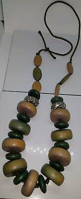 Vintage 1970s long heavy chunky wooden beaded necklace.  Costume jewellery
