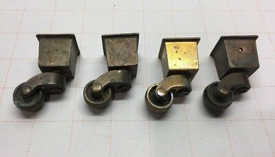 Antique SET of 4 BRASS WASH METAL CASTERS FURNITURE WHEELS PARTS Original