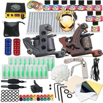 Complete Full Tattoo Kit Starter Set Pro Machine Gun Power Supply Needle Ink ti