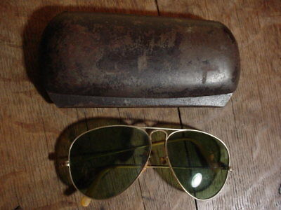 WWII US ARMY AIR CORPS Classic PILOT AVIATOR SUNGLASSES in Steel OD Crackle CASE