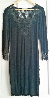 VTG Dress MED Gothic Victorian LBL Black Steampunk Lace Embroidered