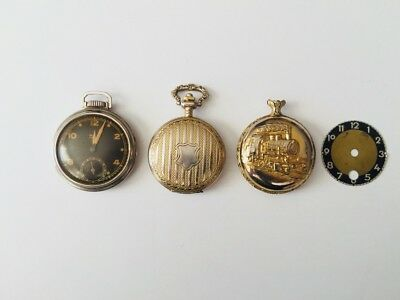 Lot of 3 Antique/Vintage Pocket Watches, Extra Dial, Extra Crystal - Westclox