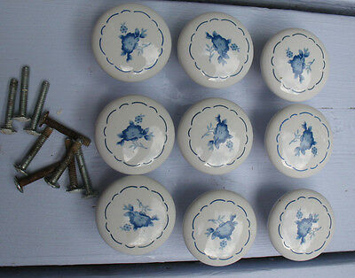 Lot of 9 White Porcelain Delft Blue Style Floral Drawer Cabinet Knobs  1 1/2""