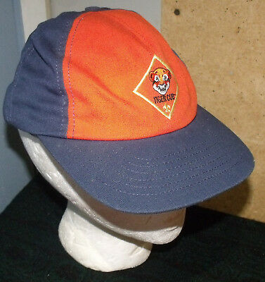 Tiger Cub Scout Baseball Cap Adjustable Back Small Medium S/M Blue Orange
