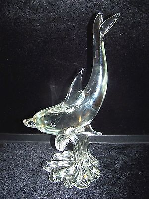 Large Murano Dolphin Blown Crystal Art Glass 1970's Signed Piece
