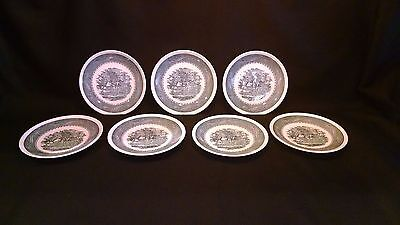 "Taylor Smith & Taylor Currier & Ives Blue 6 3/4"" Bread & Butter Plate - Set Of 7"