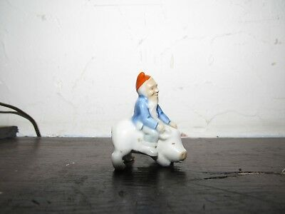 Wade Gnome W/ Red Hat Riding Pig Porcelain Figurine