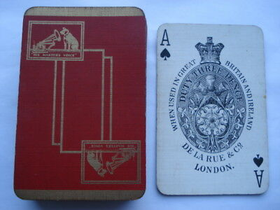 C1930S Vintage H.m.v.(His Masters Voice)De La Rue Adv Playing Cards
