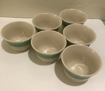 Vintage Staffordshire Shenango Pottery Ribbed Custard Cup Excellent LOT of 6