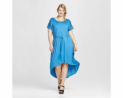 1ed8fb0d0b7 NWT AVA   Viv Plus Size Embroidered High-Low T-Shirt Dress Blue ...