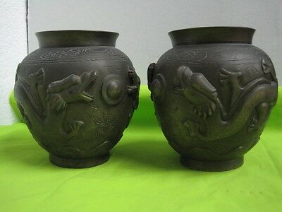 Antique Pair Chinese bronze Vase Carved with dragons signed in the bottom