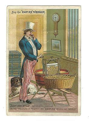 Trade Card Empire Washer Washing Machine UNCLE SAM Patriotic Whipple Olneyville