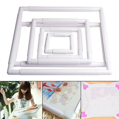 Square Rectangle Clip Plastic Embroidery Frame Cross Stitch Hoop Stand Lap Tool