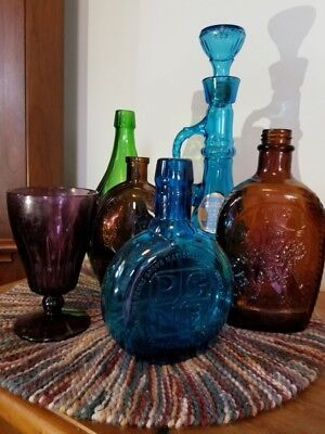 glass bottles collectibles dated commemorative amber, green, blue decorative