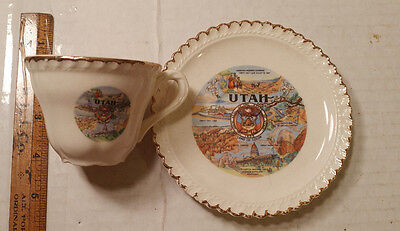 """Great Vintage Utah cup and saucer China set Bryce & Grand Canyon """"Land of Color"""""""