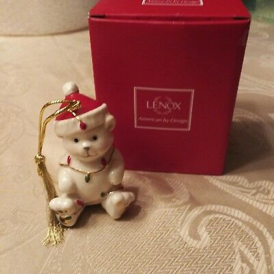 Lenox Porcelain Teddy Bear with Santa Hat Christmas Ornament 24K Gold Accents