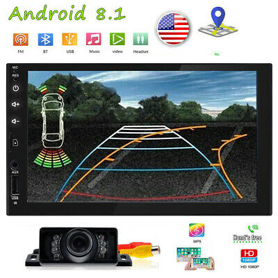 Backup Camera+Android 8.1 GPS Double 2 Din Car Stereo Radio Player Bluetooth AUX