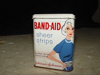 Estate Vintage 1960'S Advertising Johnson & Johnson Band Aid Sheer Strips Tin