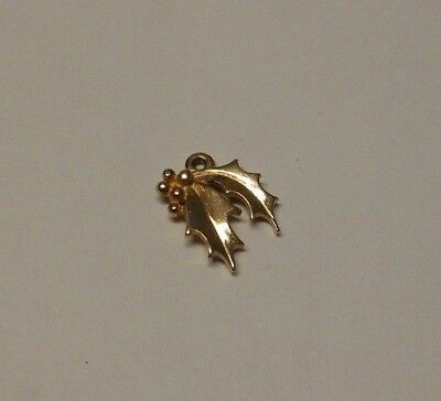 James Avery 14k Gold CHRISTMAS HOLLY Charm Pendant Retired