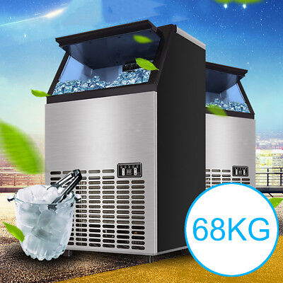 150Lb Auto Commercial Ice Cube Maker Machines Stainless Steel Bar Restaurant