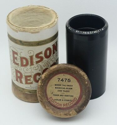"""Edison Black Wax Cylinder #7475  """"Where The Sweet Magnolia's Bloom"""" Plays Nicely"""