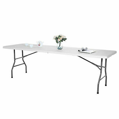 8FT White Folding Table Portable Camp Party Picnic Table Indoor Outdoor