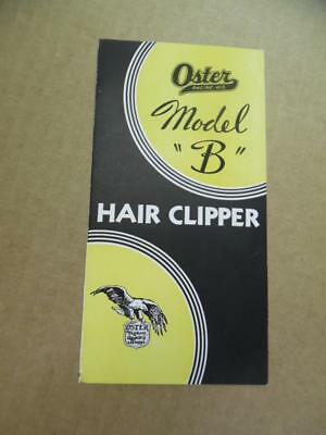 c.1933 Oster Model B Hair Clipper Brochure Barbershop Barber Racine Vintage VG+