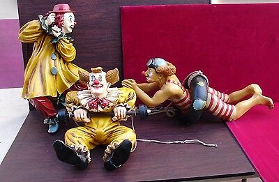 vintage collectible set of 3 large clowns