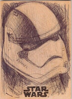 2017 Star Wars The Last Jedi Sketch Card Stormtrooper by Andy Fry