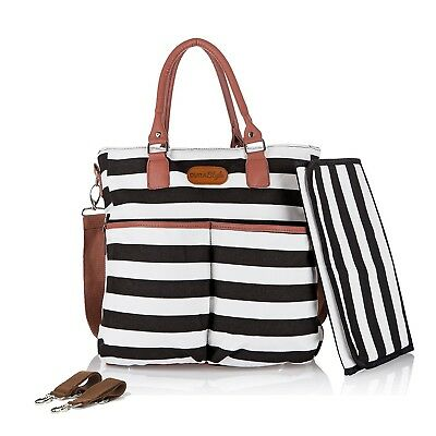Designer Diaper Bag by DuraStyle - Bonus Stroller Straps and Baby Changing Ma...
