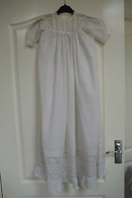 Antique Embrodered Lace Victorian Christening Gown Good condition