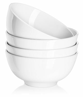 DOWAN 22oz Porcelain Soup/Cereal Bowls - 4 Packs White White - Set of 4 6 inch